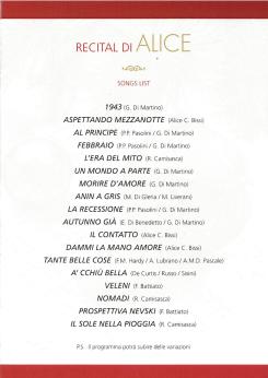 Recital Alice - San Miniato Setlist